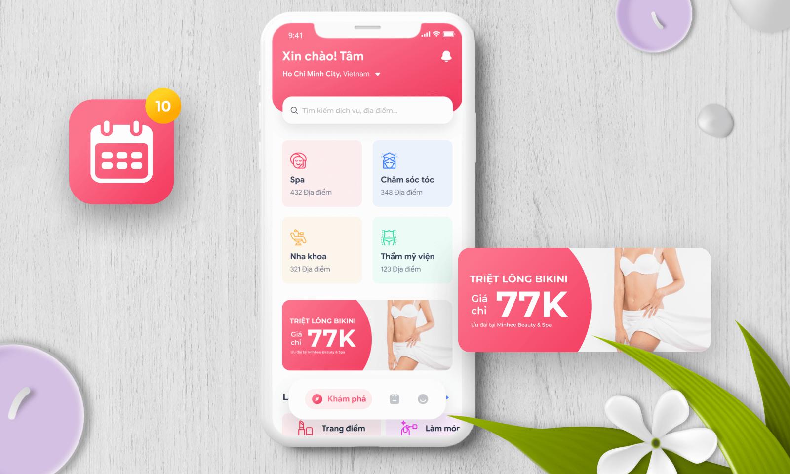 Chọn giao diện App Spa dành cho khách hàng như thế nào ?
